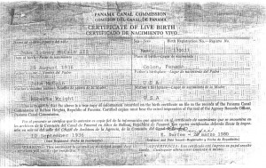 McCain's birth certificate showing birth in Colon, Panama