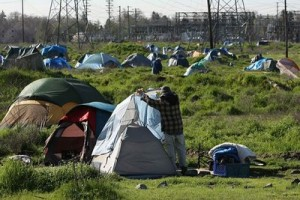 Americans living in tents