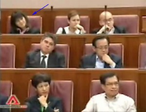 Thio (blue arrow) smiling as PM Lee praises her