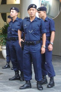 Armed Gurkhas on the streets of Singapore