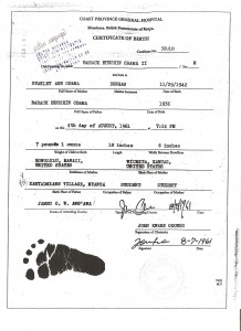 Hospital record of Obama's birth in Kenya