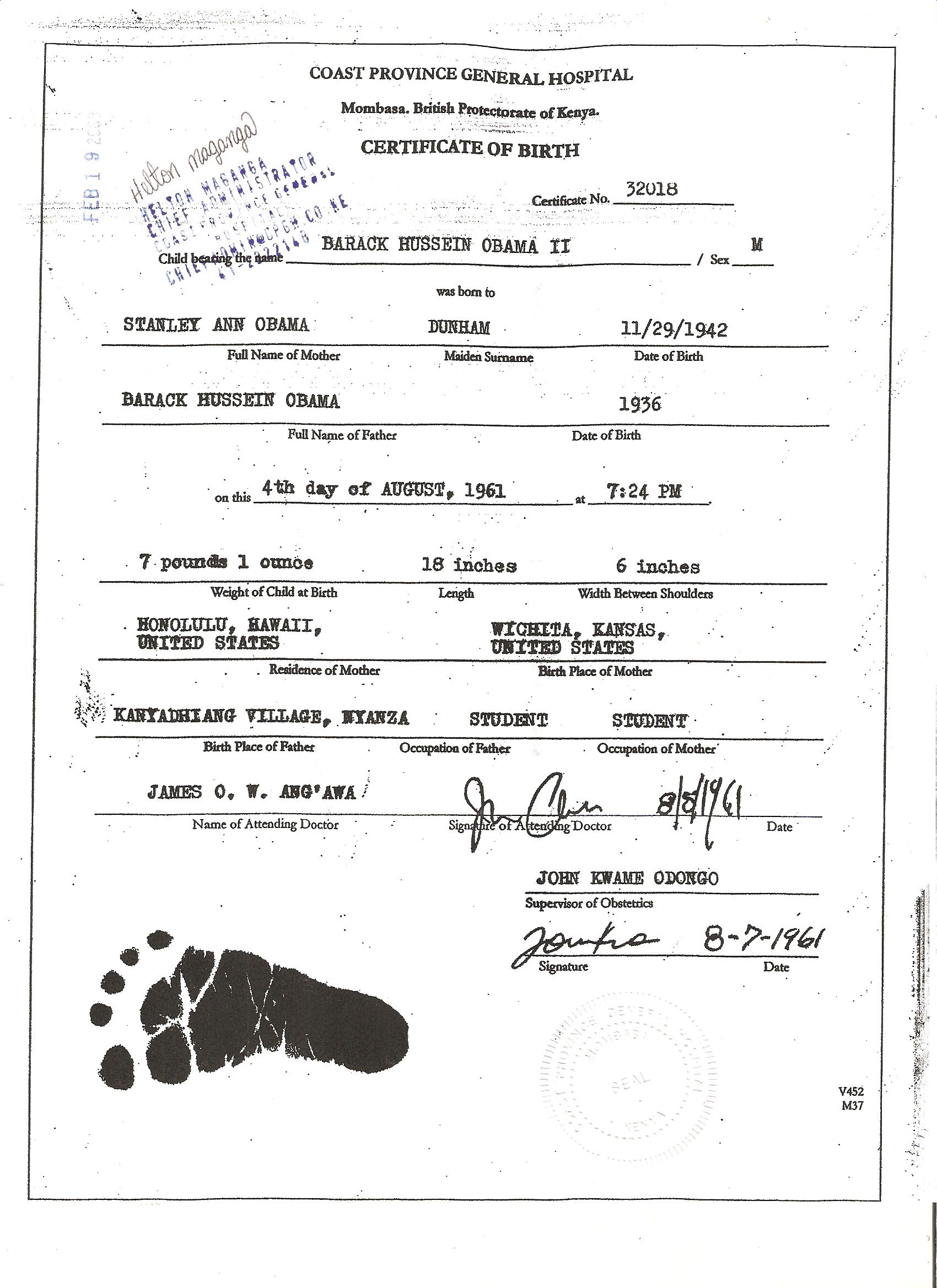 Obamas Kenyan Birth Certificate A Fraud Getting At The Truth