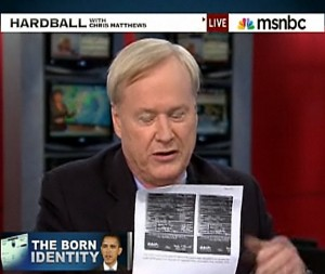 Chris Matthews showing Obama's censured birth certificate