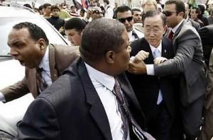 March 23, 2011- Ban Ki-moon fleeing angry Egyptian crowd