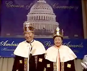 Reverend Moon being crowned in the US Senate office building