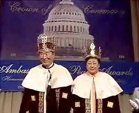 Reverend Moon being crowned in the US Senate office building