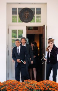 George Clooney and Ireland's Samantha Power (far right) leaving the Oval Office