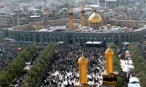 Millions of Shia Muslims gather around the Hussein Mosque in Karbala after making the Pilgrimage on foot to mourn the loss of the Battle of Karbala