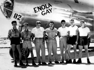 "The crew of the B-29 ""Enola Gay"" with the pilot, Col. Paul W. Tibbets, in the center"