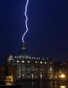St Peters struck by lightning