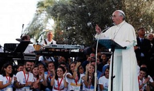The Pope speaking in Cagliari, Italy