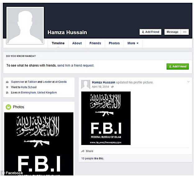 The terrorist Facebook page with the family's address
