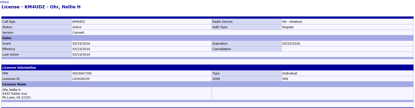 Nellie Ohr's HAM Radio License