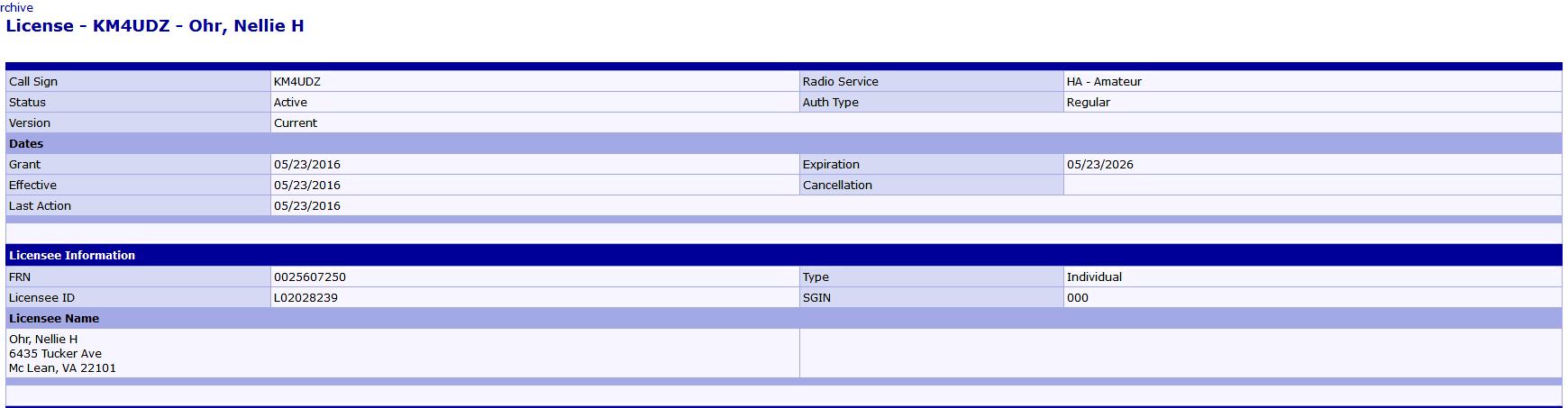 Nellie Ohr's HAM Radio License